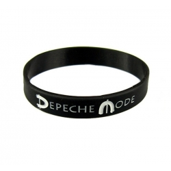 Black Debossed Silicone Wristband Depeche Mode
